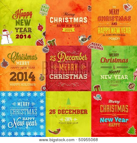 Christmas cards vintage set of retro Xmas banners design. Holiday vector collection.