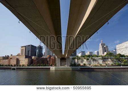 Saint Paul skyline from beneath the Wabasha Street Freedom Bridge, Saint Paul, Minnesota poster