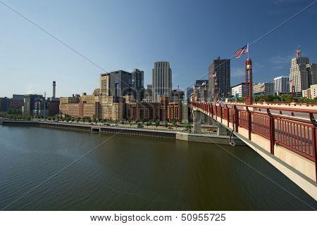 Saint Paul skyline form Wabasha Street Freedom Bridge, Saint Paul, Minnesota poster