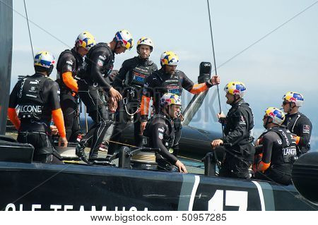SAN FRANCISCO, CA - SEPTEMBER 12: The crew of Oracle Team USA prepares to compete in the America's Cup sailing races in San Francisco, CA on September 12, 2013