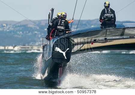 SAN FRANCISCO, CA - SEPTEMBER 12: James Spithall and Ben Ainslie aboard Oracle Team USA during in the America's Cup races in San Francisco, CA on September 12, 2013