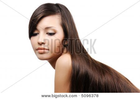 Beautiful Young Girl With Long Smooth Hairs
