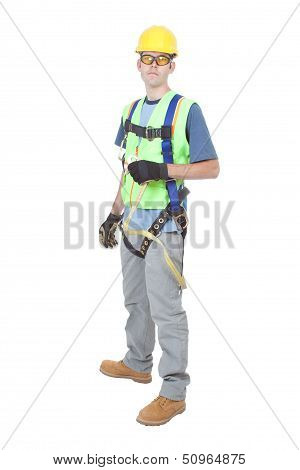 Man Wearing Safety Climbing Harness