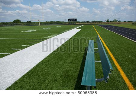 American Football Field View from the Sideline Bench
