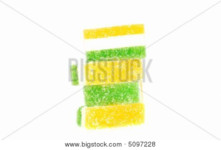 Striped sugar marmalade coated jellies isolated on the white background. poster