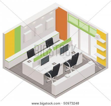 Vector isometric office room icon