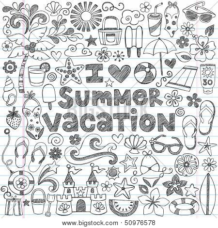 I Love Summer Vacation Tropical Hand-Drawn Lettering Sketchy Notebook Doodles with Palm Tree, Hibiscus Flower, Sunglasses, Flip-Flops, Sandcastle- Vector Illustration on Lined Sketchbook Paper