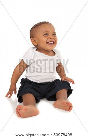 Happy One Year Old African American Baby Boy on Isolated Background