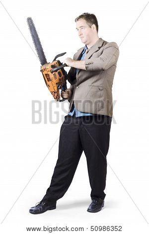 Businessman Holding Portable Chainsaw