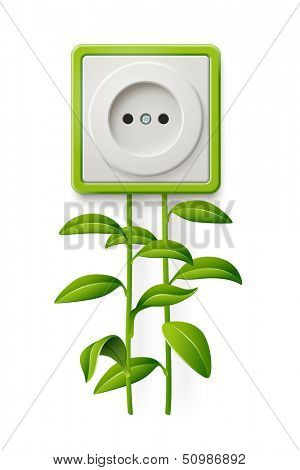 Clean energy. Illustration of an electrical outlet, and natural resources. Green energy. Raster copy