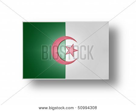National flag and civil and state ensign of the Democratic and Popular Algerian Republic (stylized I). poster