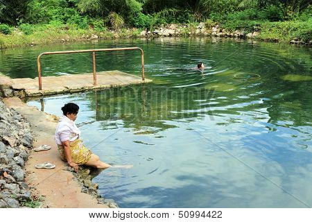 Thai Senior Relaxing Outdoor Thermal Pool