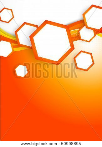 Orange hexagons on wavy background. This is file of EPS10 format. poster