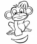Black and white cartoon monkey looking at a banana. poster