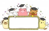 Banner Illustration Featuring Animals Wearing Graduation Caps and Holding Rolled Diplomas poster