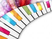 Colorful musical concept with piano, can be use as flyer, poster, banner or background for musical parties and concert.  poster