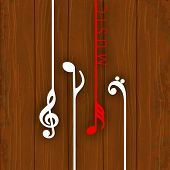 Hanging colorful musical notes on wooden background,  can be use as poster, banner for flyer for music concerts and parties. poster