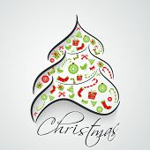 Stylish Xmas tree decorated with ornaments on grey background for Merry Christmas celebration.  poster