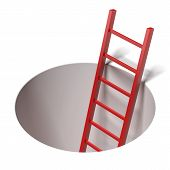 Ladder standing inside hole  isolated on a white background poster