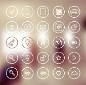 Set of web icons for business, communication and finance design. Blurred modern abstract background poster