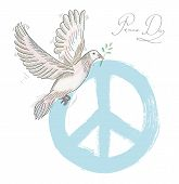 Hand drawn peace day composition: blue symbol and dove bird over texture background. EPS10 Vector file organized in layers for easy editing. poster