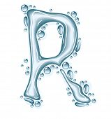 Blue water and clear drops. Liquid vector alphabet. poster