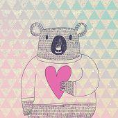 Cute koala bear in hipster style. Funny koala in sweater with big heart on modern stylish geometric