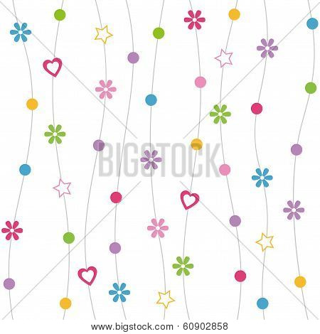 hearts flowers and dots pattern