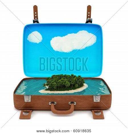 suitcase with a small island