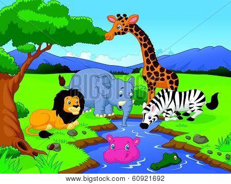 Vector illustration of Cartoon Savannah scenery with animals and waterhole poster