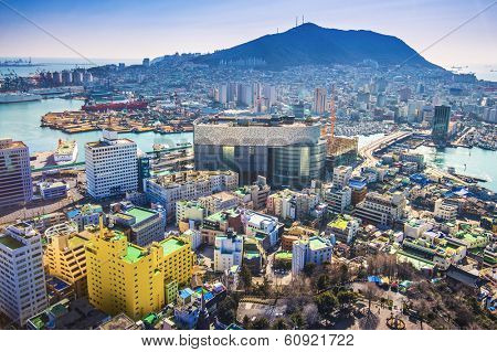 Busan, South Korea cityscape from above. poster
