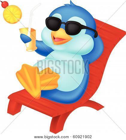 Cute penguin cartoon sitting on beach chair