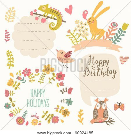 Easter concept set in vector. Bright holiday elements and signs in cartoon style: egg made of hearts and flowers, rabbits, chicken, butterflies. Four cute holiday design elements