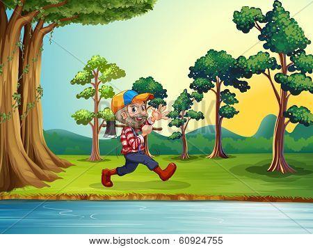 Illustration of a happy woodman walking at the riverbank