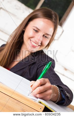 Woman Writing, Signing