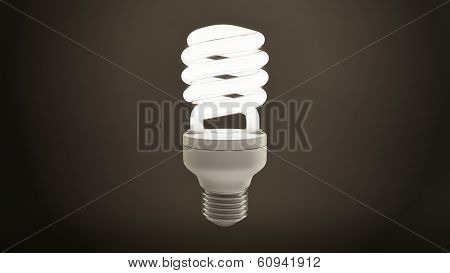 Single Fluorescent Light Bulb Over Dark Background