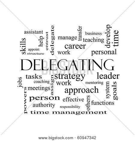 Delegating Word Cloud Concept In Black And White