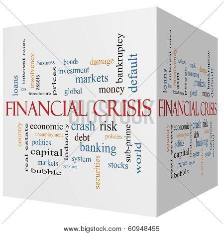Financial Crisis 3D Cube Word Cloud Concept