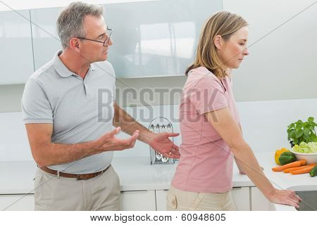 Unhappy couple having an argument in the kitchen at home