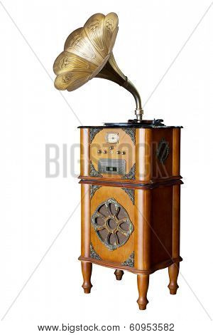 isolated phonograph in white background