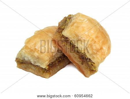 Delicious Turkish baklava isolated on white background. poster