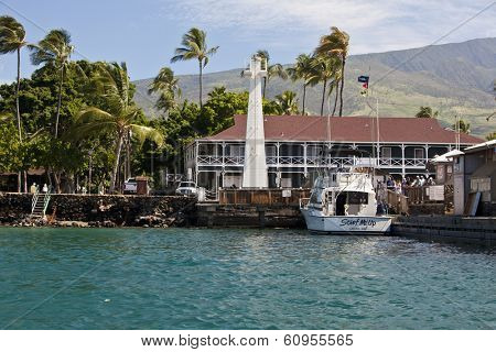 LAHAINA, MAUI- FEBRUARY 5, 2014:  The Lahaina Harbor is a popular tourist destination in Maui for tourists wanting to go whale watching.