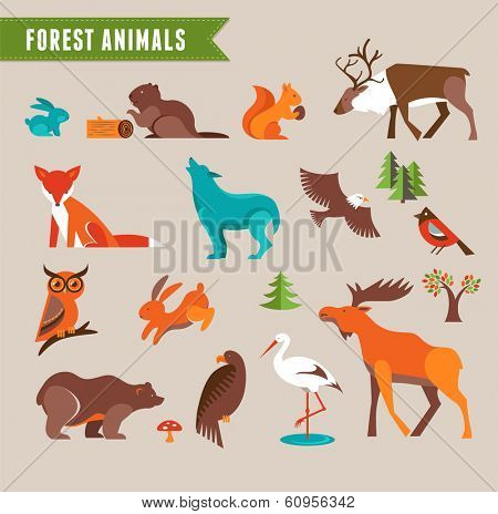 Forest animals vector set of icons and illustrations