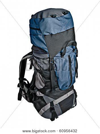 Trekking backpack (rucksack) isolated on white background
