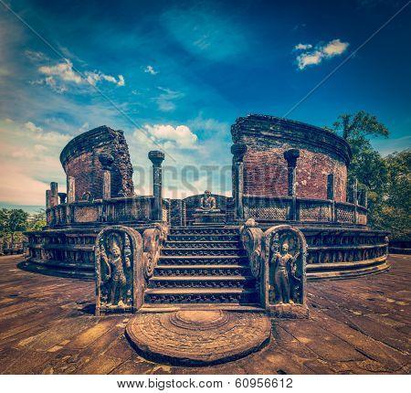 Vintage retro hipster style travel image of ancient Vatadage (Buddhist stupa) in Pollonnaruwa, Sri Lanka