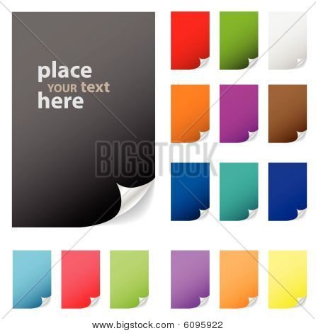 Collection of vector multicolored paper with peeled corner. Perfect for adding text, design. More in