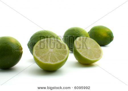 Fresh Green Limes Isolated on White Bbackground