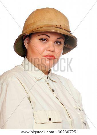 Retro style traveler in pith helmet.