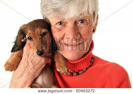 Senior woman holding her new dachshund puppy
