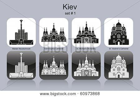 Landmarks of Kiev. Set of monochrome icons. Editable vector illustration.